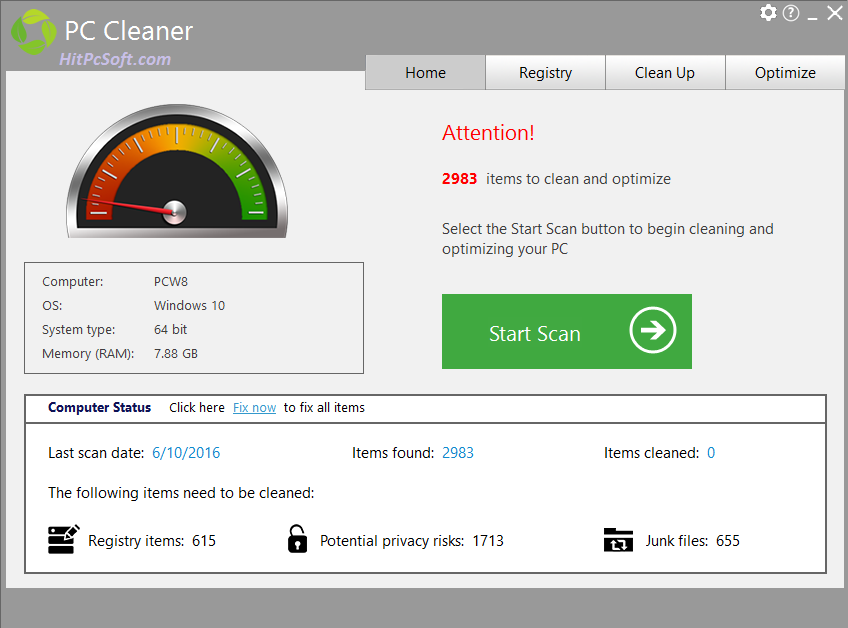 PC Cleaner Platinum Crack 7.4.0.1 + Keys Download